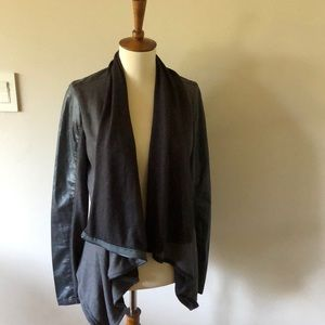 BLANKNYC Faux leather and fabric moto jacket
